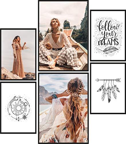 Papierschmiede® Premium Poster Set Hippie | 6 Bilder als stilvolle Wanddeko | 2X DIN A4 und 4X DIN A5 | Yoga Ruhe Leben