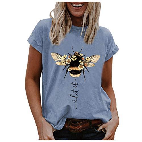 T Shirt Damen Kurzarm Oberteile Sommer Insekt Graphic Drucken locker Tunika Tops Oversize Elegant Rundhals Basic Pullover Blusenshirt Hemd Bluse für Frauen Teenager Mädchen große größen Tee Tops