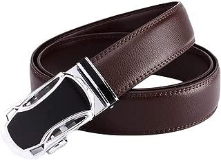 Men's Casual Belt Automatic Buckle Business Pants Belt (Color : Brown, Size : 125cm)
