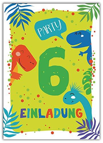 Junaversum 12 Einladungskarten zum 6. Kindergeburtstag Jungen Dinosaurier Einladungen sechste Geburtstag