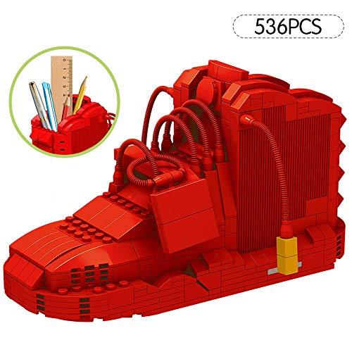Turnschuhe Modell-Feder-Bleistift-Halter-Behälter, Sport-Basketball-Schuh-Bausteine, DIY Bricks Mini Bleistift-Box Spielzeug for Kinder Briefpapier, nette Mini Sport-Basketball-Schuhe (Color : Rot)