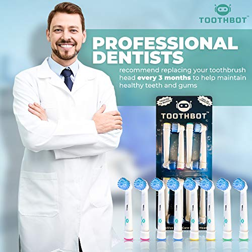 8-Pack Replacement Brush Heads Ideal for Sensitive Gums and Teeth Compatible with Oral B Electric Toothbrush - Pro 1000 1500 3000 5000 6000 8000 9000 Vitality, Triumph & More