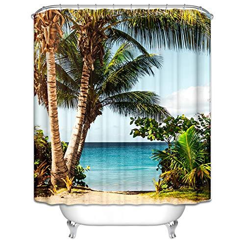 Aeici Duschvorhang 180X180 cm Seekokosnussbaum Polyester Badvorhang Textil Grün Braun Duschvorhang für Badezimmer
