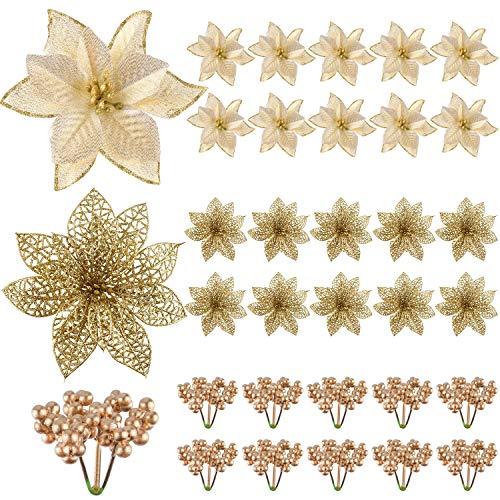 TUPARKA 30 st konstgjort guld jul julstjärna blommor och järnebär för julgransprydnader dekorationer, julblommor krans dekorationer högtid säsongshantverk tillbehör