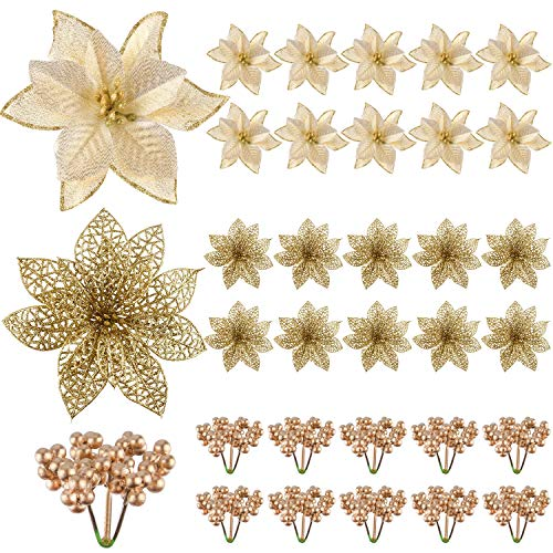 TUPARKA 30 Pcs Artificial Gold Christmas Poinsettia Flowers and Holly Berries for Christmas Tree Ornaments Decorations, Christmas Flowers Wreath Decorations Holiday Seasonal Crafts Supplies