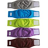 vecomfy Belly Bands for Male Dogs 5 Pack,Premium Washable Reusable Small Dog Belly Wrap Leakproof Puppy Diapers,S