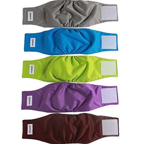 vecomfy Belly Bands for Male Dogs 5 Pack,Premium Washable Reusable Large Dog Belly Wrap Leakproof Doggie Diapers,L