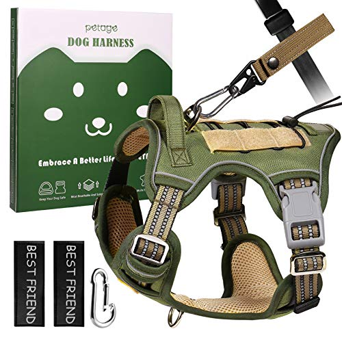 PETAGE Tactical Service Dog Harness No Pull, Reflective Military Dog Harness with Handle, Service Dog Vest with Pet Safety Belt, Adjustable Working Pet Vest Easy Control for Small Medium Large Dogs