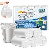 XUXRUS Bolsas de basura orgánicas de 15 litros, 100 unidades, pequeñas, biodegradables, almidón de maíz, material reciclado, para guías de cocina, salón, color blanco