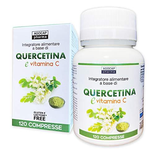 Quercetina 200mg con Vitamina C | 120 compresse, fornitura 4 mesi | Quercetina 200mg (massimo consentito dalla normativa Italiana)| Quercitina complex, rinforza il sistema immunitario, Agocap