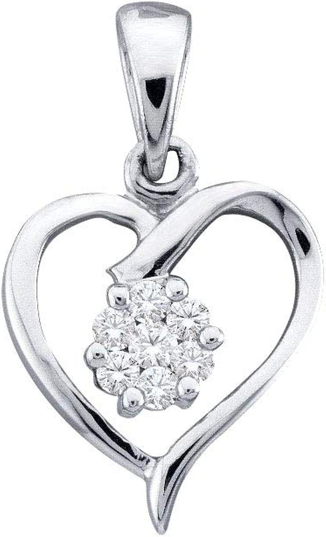 10kt White gold Womens Round Diamond Flower Cluster Heart Pendant 1 12 Cttw