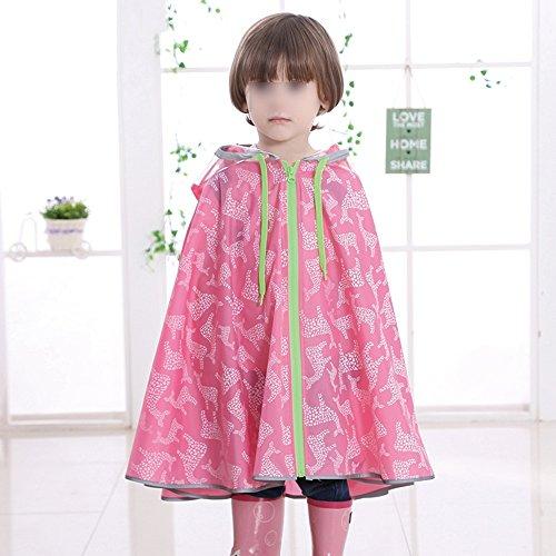 ZZHF Yuyi Impermeabile/Poncho Zaino/Piumino con Cappuccio/Outdoor Camping Riding Long Kids Poncho Rain Cloak per Ragazzi e Ragazze (4 Colori Disponibili) (Colore : Rosa, Dimensioni : S.)