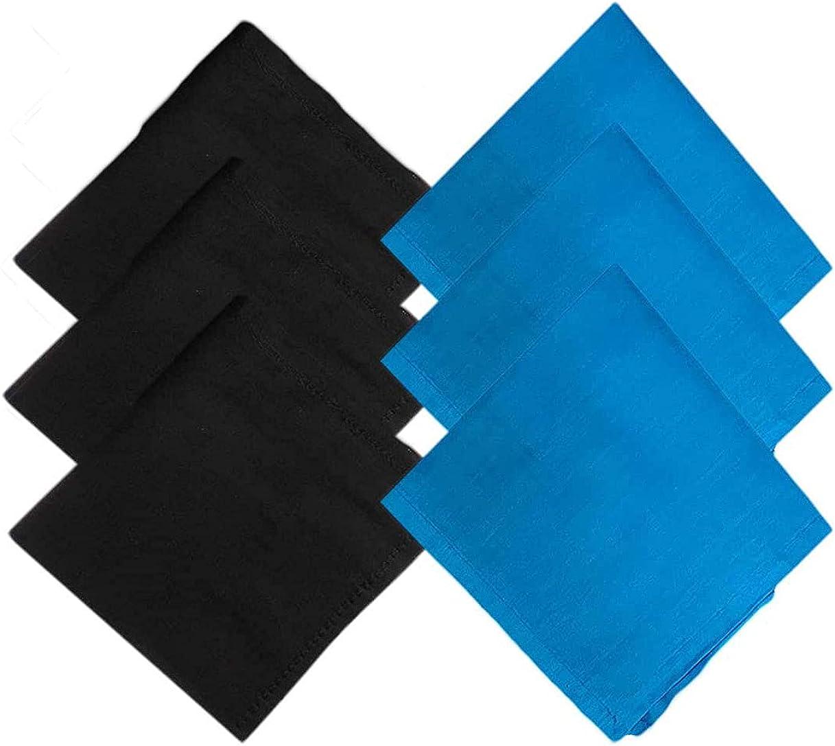 Kalagiri Cotton Premium Collection Black And Blue Handkerchiefs Hanky Set For Men - Pack of 6 Pcs