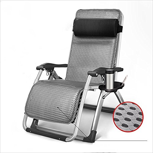 LZMXMYS lounge chair outdoor,Folding chairblack recliner stainless steel fabric lounge chair gray (Color : Gray)