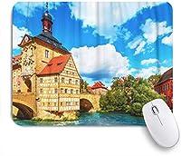 KAPANOUマウスパッド バンベルクの旧市庁舎の建物と風光明媚な夏の景色 ゲーミング オフィス おしゃれ 防水 耐久性が良い 滑り止めゴム底 ゲーミングなど適用 マウス 用ノートブックコンピュータマウスマット