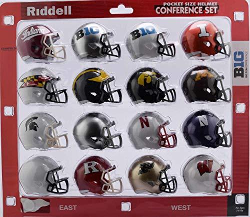 Riddell NCAA Big 10 Helmet Pocket ProBig 10 Conference Set Pocket Pro Speed Style 2018, Team Colors, One Size
