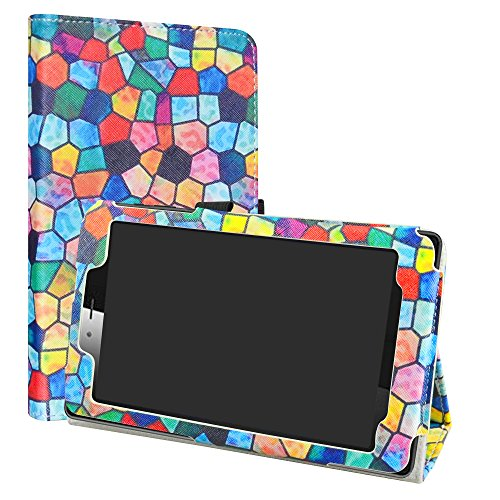 LiuShan Hoes voor Vodafone Smart Tab Mini 7, Slim PU lederen tas en opvouwbare standaard Folio Cover Case Hoesje voor 7 Vodafone Smart Tab Mini 7 / Alcatel Pixi 4 7 Android tablet, Stained Glass