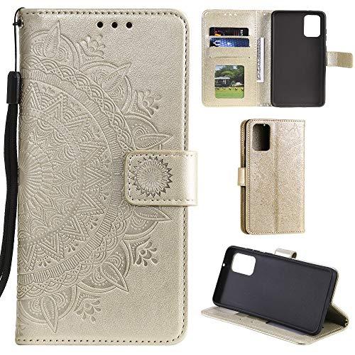 CoverKingz Handyhülle für Samsung Galaxy A41 - Handytasche mit Kartenfach Galaxy A41 Cover - Handy Hülle klappbar Motiv Mandala Gold