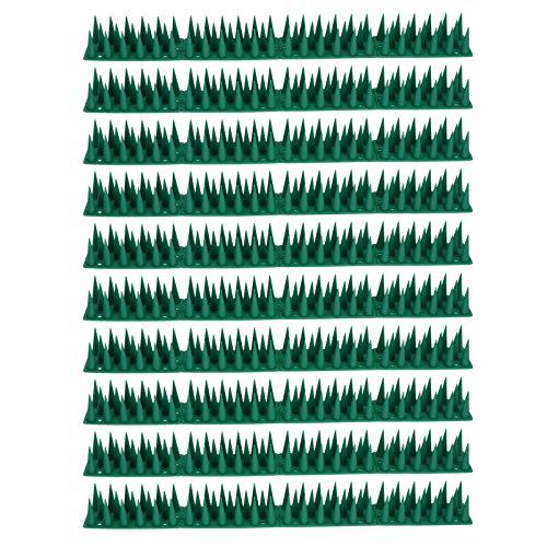 DOITOOL 10 conjuntos de espigões de pássaro de plástico anti-gato e pombo de pássaro repelentes para parede externa, cerca verde