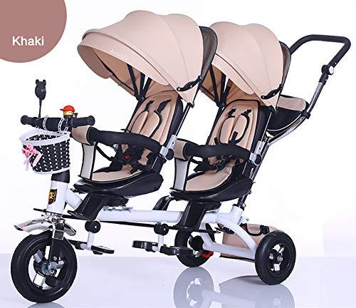 Tricycle d'enfants, 4 en 1 Les Enfants roulent sur Tricycle Twin Sièges avec Panier, Guidon Parents et Auvent Soleil Vélo à 3 Roues Fit de 12 Mois à 6 Ans,4