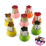 Kit de galletas para niños: formas de alimentos de 8 cortadores de galletas para niños, que incluyen flores, gatos, osos, conejos, estrellas, corazones, para galletas, sushi, frutas y verduras