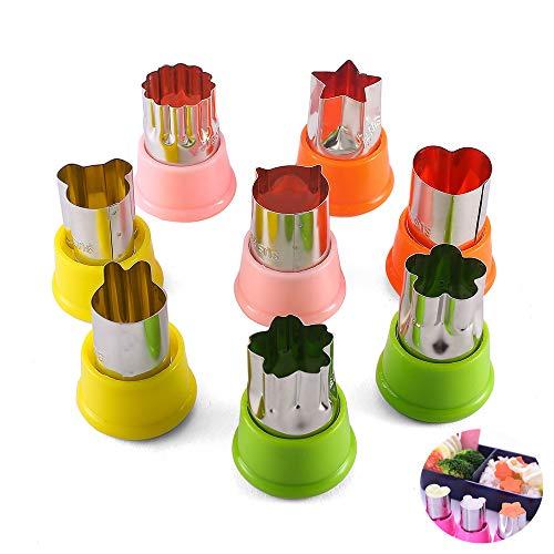 KeepingcooX Barnkakkit - mat bakformer av 8 kakskärare frimärken för barn, inklusive blomma, katt, björn/Musse, kanin, stjärna, hjärta, bra för minikex, sushi, frukt och grönsaker