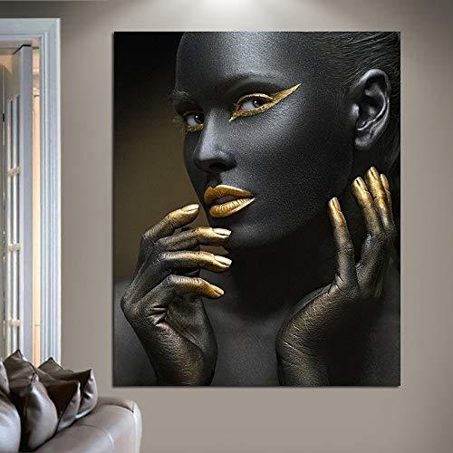 ABcvuz 5D DIY Pintura Diamante Kits,Taladro Redondo Completo,Mujer Africana Negra y Dorada 30x40cm,Bordado de Cristal,Pintura de Punto de Cruz,Manualidades de decoración de Pared DIY,Dibujo de Arte c