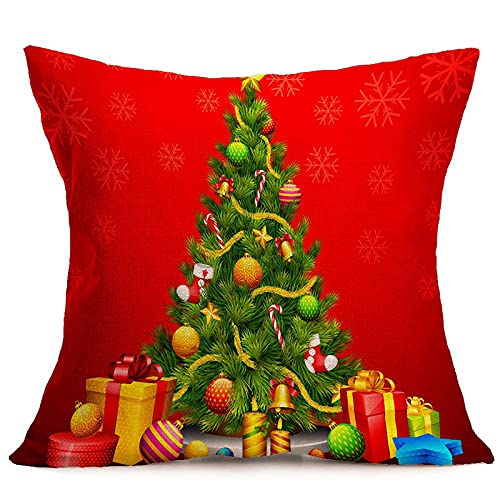 KLily Fundas De Almohada Decorativas De Año Nuevo Fundas De Almohada para El Hogar Las Almohadas para La Siesta De La Oficina del Dormitorio De Papá Noel Se Pueden Lavar