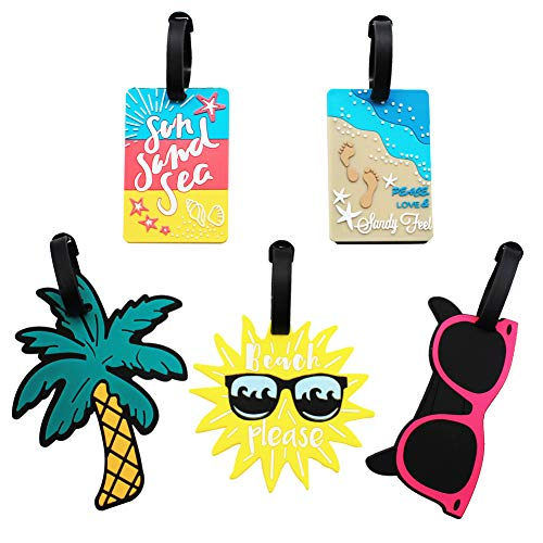 Mziart Cute Luggage Tags for Women Men, Summer Beach Bag Tags Unique Travel Baggage Tags Suitcase Identifier Labels, Set of 5