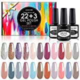 Lagunamoon 25pcs Gel Nail Polish Set with Gel Base and No Wipe Glossy/Matte