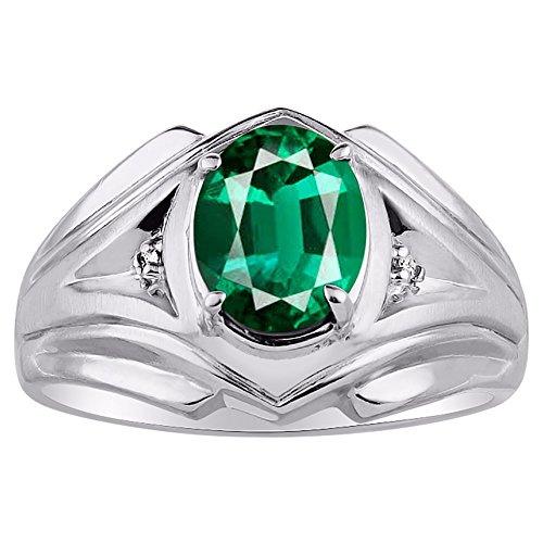 Para hombre simulado verde esmeralda y diamante anillo banda oro blanco de 14K