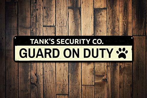 qidushop Panneau de sécurité Personnalisable pour Animal Domestique avec Inscription « Security Company », Empreinte de Pattes d'Animaux et d'Amoureux en métal pour Femme