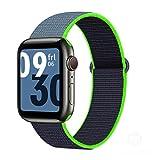 Correa de nailon para Apple Watch, pulsera de lazo deportivo con correa de reloj inteligente para iWatch Series SE / 6/5/4/3/2/1-Color lima neón, para 42MM o 44MM