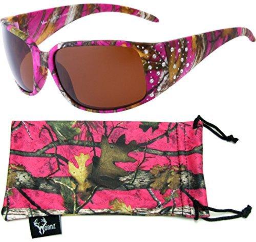 Hornz Heiße Pink-Purple Tarnung polarisierten Sonnenbrillen Country Girl Style Strass Akzente & freie passende Beutel aus Mikrofaser – Heiß Rosa-Lila Camo Rahmen – Bernstein Objektiv