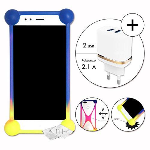 LOGICOM L-ement 403 Pack Coque Bumper Multicouleur Antichoc en Silicone de qualité + Super Chargeur Secteur Ultra Rapide 2 X USB 2.1A