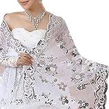YO-HAPPY Chal de Mujer, New Bride Vestido de Novia Chal Cheongsam de Mujer Chal de Encaje Blanco Lentejuelas Bordadas Chales Largos