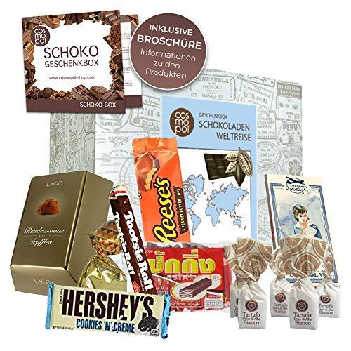 Premium Geschenk Schokoladen Weltreise | zahlreiche Schokoladenprodukte | besondere Geschenkidee mit internationalen Schoko Spezialitäten | Geschenk für Sie Präsent für Ihn Weihnachtsgeschenk für Frau Geschenkbox für Mann