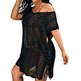 Romwe Women's Plus Size Short Sleeve Bathing Suit Cover Up Crochet Swim Beach Dress Black 3XL