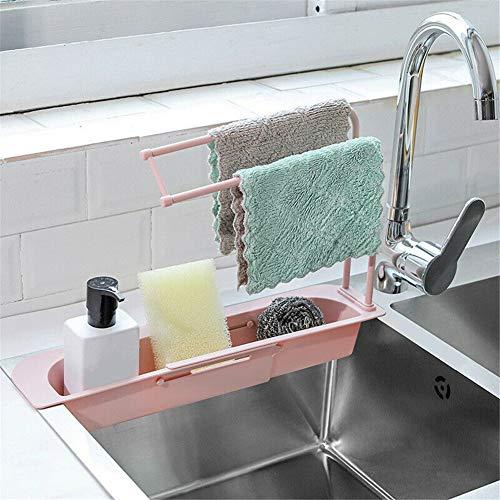 Waschbecken Caddy Schwamm Seifenhalter Organizer Waschbecken Sider Wasserhahn Teleskop-Spülenhalter Küchenspülen-Organizer, Waschbeckenständer Erweiterbarer Ablagekorbhalter (Pulver)