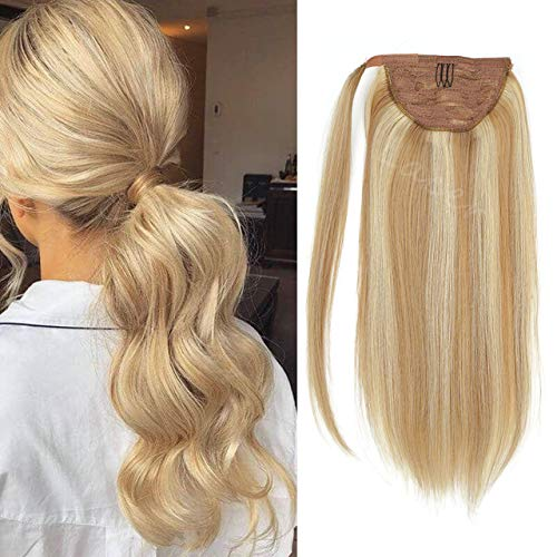 Lacer Balayage Ponytail Extension Clip in Ponytail Hair Extensions Remy Human Hair Wrap Around Ponytail Straight Bleach Blonde Highlight Ponytail Hairpiece Pony Tails Hair Extensions for Women 14 Inch
