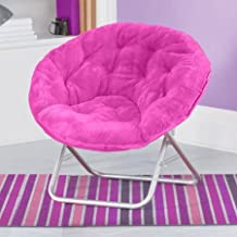 Mainstay Faux-Fur Saucer Chair with Cool Faux-Fur Fabric, Soft and Wide seat, Perfect for Lounging, dorms or Any Room in Multiple Colors (Pink)