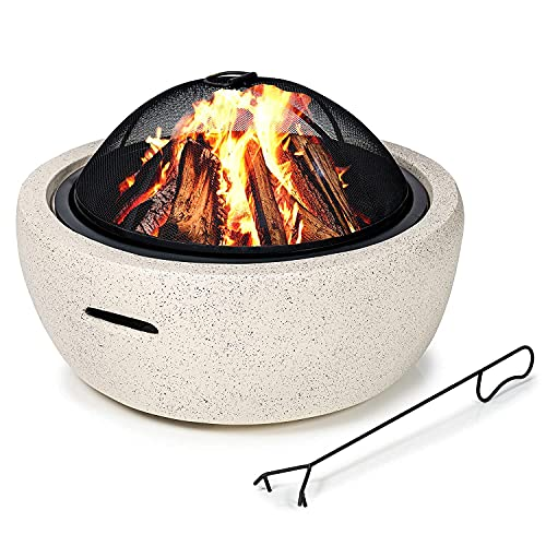 GardenCo MgO Round Fire Pit - Outdoor Firepit for Garden and Patio - Wood Burner - with Spark Guard