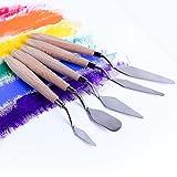 Fuumuui 5 pcs Peinture Couteau Ensemble Palette Couteau Peinture Outils Peinture mélange grattoir spatule en Acier Inoxydable Manche en Bois