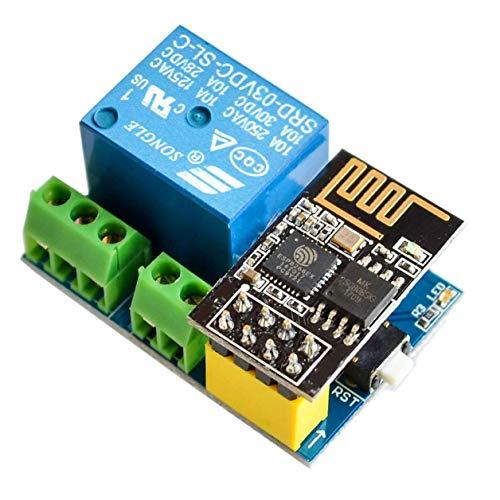 IZOKEE ESP8266 ESP-01S mit Relais Adapter, WLAN/WiFi Wireless Transceiver Modul & Relais Modul für Arduino Raspberry Pi