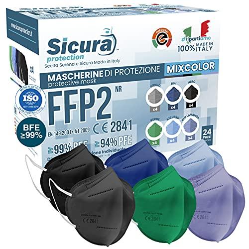 24x FFP2 Masken CE Zertifiziert Filterklasse BFE ≥99% Assortierte Farben Schwarz Hellblau Blau Grün Lavendel Grau SANITIZIERTE Einzeln versiegelte ISO 13485 Atemschutzmaske