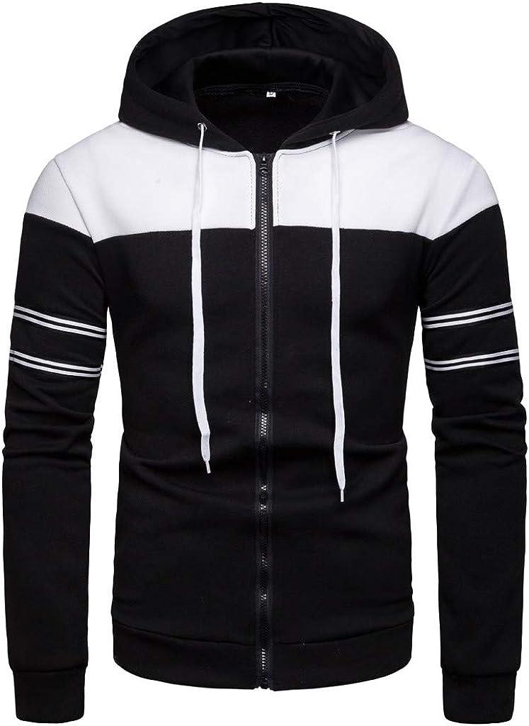 MODOQO Zipper Hoodies for Men, Long Sleeve Casual Solid Loose Fit Sweatshirt with Pocket