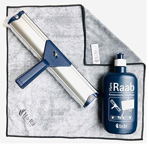 Ha-Ra SET ein Team: Ha-Ra Fensterwischer 32 cm + Star Tuch anthrazit + 500 ml Ha-Ra Flasche Vollpflege Konzentrat