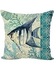Nunubee Kussensloop woonkamer decoratie kussen leuke Middellandse Zee-marine stijl linnen materiaal autodecoratie sofa cover, oceaan serie 2 45 * 45 cm