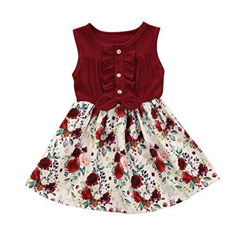 fgsdd Vestido de lino sin mangas para bebé, niña, con lazo de flores, traje para el sol Vino 80 cm