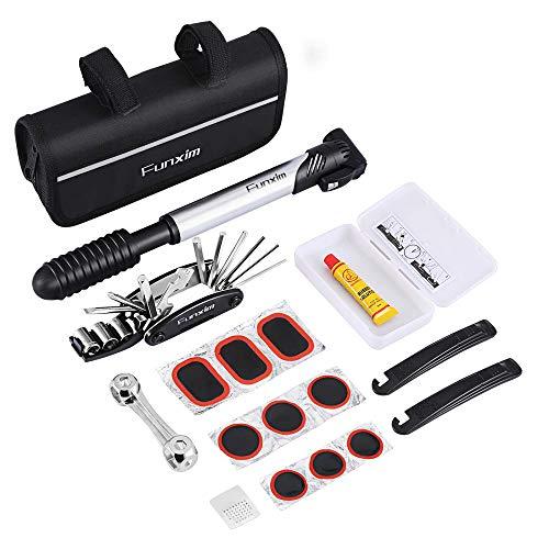 Funxim Fahrrad-Multitool, 16 in 1 Fahrrad Reparatur Werkzeug Set mit Mini Fahrradpumpe, Reifenschlauchflicken, Reifenhebel, Sechskanschlüssel, Tasche mit reflektierendem Streifen